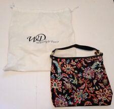 Whiting & Davis Metal Mesh Leather Purse Satchel Hand Bag Floral + Dust Bag