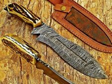 LOUIS SALVATION CUSTOM & HANDMADE HAND FORGE ART HUNTING BOWIE KNIFE STAG/ANTLER