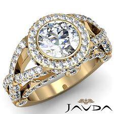 Halo Cross Shank Round Diamond Engagement Ring GIA G VS1 18k Yellow Gold 2.97ct