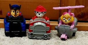 PAW PATROL 3 MINI RACERS VEHICLES CARS TRUCK HELICOPTER SKYE, CHASE & MARSHALL