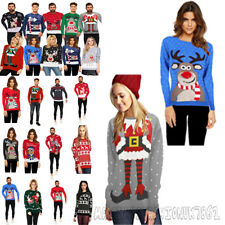 Christmas New Ladies Xmas Unisex Jumper Sweater Retro Novelty Mens Plus Sizes