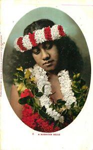 BEAUTIFUL NATIVE WOMAN, HAWAII, c 1905, VINTAGE POSTCARD