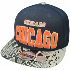 Chicago Neon Orange Snake Skin Snap Back Flat Bill Hat Cap Chi-Town Windy City