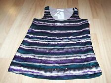 Size XS Sugar Lips Striped Sequined Tank Top Blouse Purple Green Tan New $68