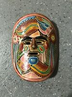 Mexican Mask Clay Pottery Hand Painted Wall Hanging Vintage Folk Art