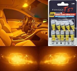 LED 5050 Light Orange Amber 194 Ten Bulbs Interior Dome Replacement Festoon Fit