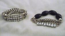2 glitzy stretch bracelets clear baguette & round rhinestones in silver tone
