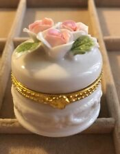 """Round Trinket Pill Box Porcelain Flower Rose Floral Hinged Lid Gold Trim 2"""" Tall"""
