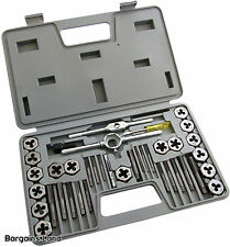 40 pc Tap and Die Set Carbon Steel Wrench T-Handle Die Holder Thread Gauge