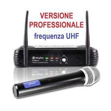 MICROFONO PROFESSIONALE UHF WIRELESS senza filo per teatro canto recite karaoke