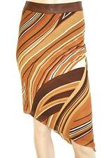 BARDOT SZ 10 WOMENS Brown Orange Striped Straight Asymmetrical Hem Short Skirt
