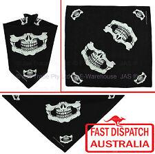 Bandana Cotton Head Scarf Wrap Black with White Print Skull Skeleton Big Mouth