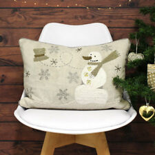 Riva Paoletti Advent Snowman Cushion Cover, Cream, 35 x 50 Cm