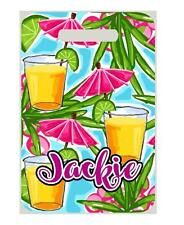 Tropical UMBRELLA DRINKS BAG TAG Personalized w/NAME & Info Luggage 2 side print