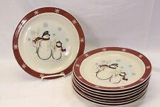 "Royal Seasons Snowman Xmas Dinner Plates 10"" Set of 8"
