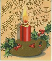 VINTAGE CHRISTMAS RED CANDLE GOLD CANDLEHOLDER HOLLY BERRY JOHN 12:46 CARD PRINT