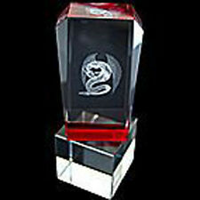 Dragon Laser Picture in Red Crystal Glass for Wealth 100mm (CY042)
