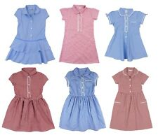 Girls School Dress Summer Gingham Blue Red  3-4 to 13-14 years