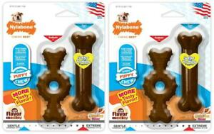 (2 Pack) Puppy Chew Twin Pack, Ring Bone & Puppy Chew Toy, Flavor Medley