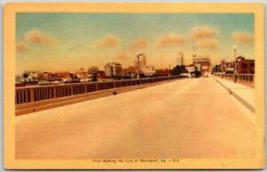 Shreveport, Louisiana Postcard Bridge / Street Panorama View DEXTER Linen 1947