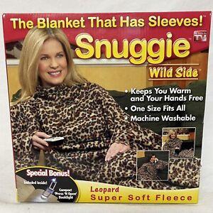Original SNUGGIE Blanket NIB With Arms Wild Side LEOPARD Fleece Factory Sealed