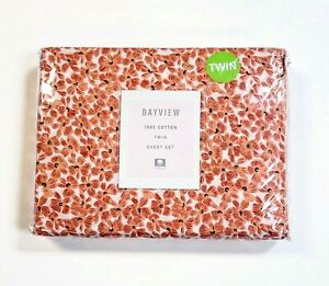 Bayview 3-Piece Twin Size Sheet Set 100% Cotton Coral Pink Floral Flower Bedding
