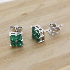 0.65 ct Princess Cut Emerald 10k White Gold Stud Earrings for Women's