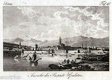 Spalato, Split: Panorama. Copper engraving.Kupferstich. Rara.+ Passepartout.1809