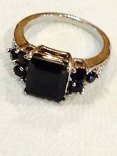 4 CT BLACK SPINEL & WHITE AUSTRIAN CRYSTAL SET IN STAINLESS STEEL, SZ 7, 8, & 9