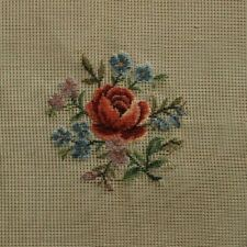 Preworked Red Rose Pink Blue Flowers Petit Needlepoint Completed Finished