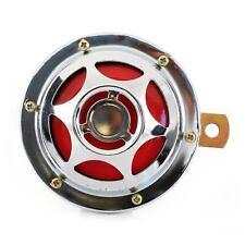 12V Chrome Red Metal Klaxon Disc Horn 110 mm Car Truck Bus Van Motorcycle