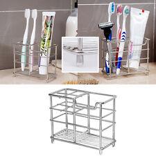 Stainless Steel Toothbrush Toothpaste Dispenser Holder Bathroom Razor Organizer