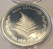 New Zealand Silver Fern Aotearoa Collectible Coin 1 Troy Oz .999 Fine Rare Round