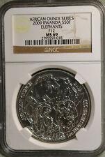 2009 African Series. Rwanda Silver 50 Franc, Elephants, F12 Privy, MS69 - RARE