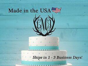 Deer Antler Cake Topper with Vine Initials, Acrylic, Deer, Birthday, LT1015