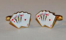 Poker Casino Blackjack Juego Naipes Gemelos Oro Plateado (CF063)