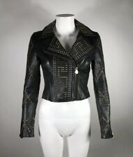 Rare Versace for H&M Studded Black Leather Jacket Sz XS