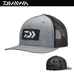 Daiwa D-VEC Rubber Patch Trucker Fishing Cap Hat (3847) - Gray/Black