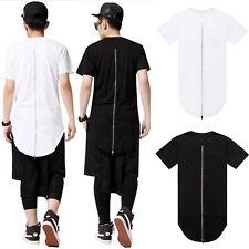 Men Longline Curved Hem Zipper Hip Hop Extended T Shirt Short Sleeve Tops Zip up