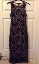 IZABEL, UK 8, Gorgeous Full length Black DRESS, Lace outer design,lined.