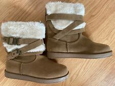 G by Guess AZZIE Tan Faux Fur Winter Ankle Boots Buckles Slip On Size 7.5 NEW