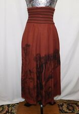 H&M Divided Brown w Black Graphic Elastic Waist Maxi Skirt./Dress...4