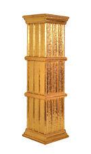 Blumensäule  handgefertigt aus massivem Akazienholz mit dekorativem Edelmetal