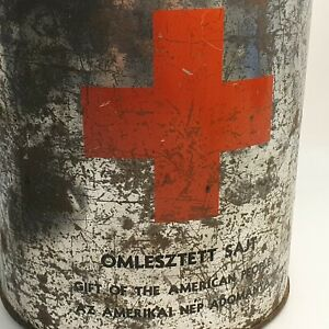 Gift of American People Red Cross army cheese can tin box WW2 VINTAGE ANTIQUE