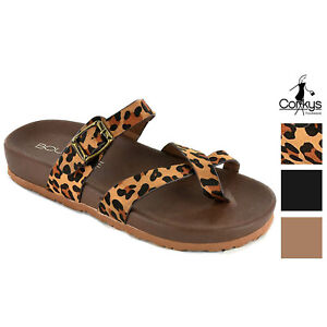 Corkys Womens Heavenly Faux Suede Buckle Sandal, Leopard, Black or Khaki