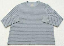 Faded Glory Gray Black Thermal Shirt 2XL Long Sleeve Striped Crewneck XXL 50-52