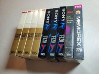 Lot Of 9 Sealed Blank VHS Tapes RCA T-120SHG Sony T-120 Memorex NOS Brand New