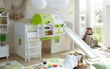 Rutschbett Hochbett Rutsche Spielbett Kinderbett Etagenbett weiß Weiß-Grün NEU