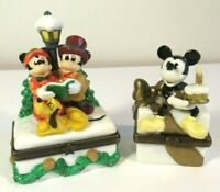 Disney Trinket Box Lot 2 Mickey Minnie Pluto Christmas Birthday Midwest Cannon