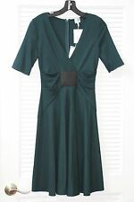 $995 NWT Armani Collezioni Italy Bottle Green Jersey Elbow Sleeve A-Line Dress 2